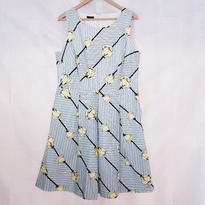 Talbots Fit and Flare Floral Stripe Dress 14P
